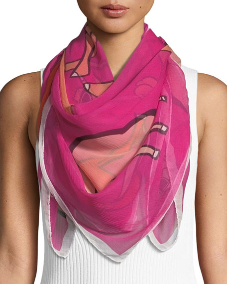 ANNA CORONEO Cool Camels Silk Scarf in Pink