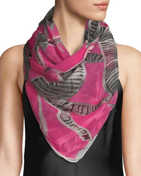 ANNA CORONEO Silk Zebras Scarf in Pink