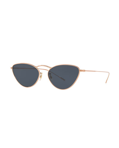 Lelaina Cat-Eye Metal Sunglasses