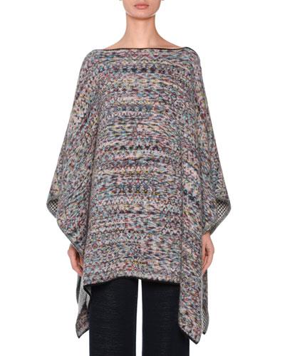 High-Neck Mélange Knit Wool-Blend Poncho