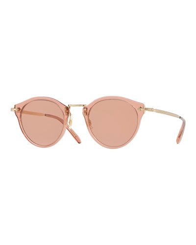 Acetate & Metal Round Photochromic Sunglasses