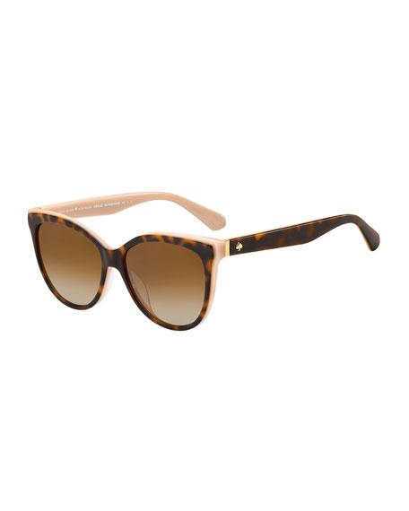 daeshas round polarized acetate sunglasses, brown/pink