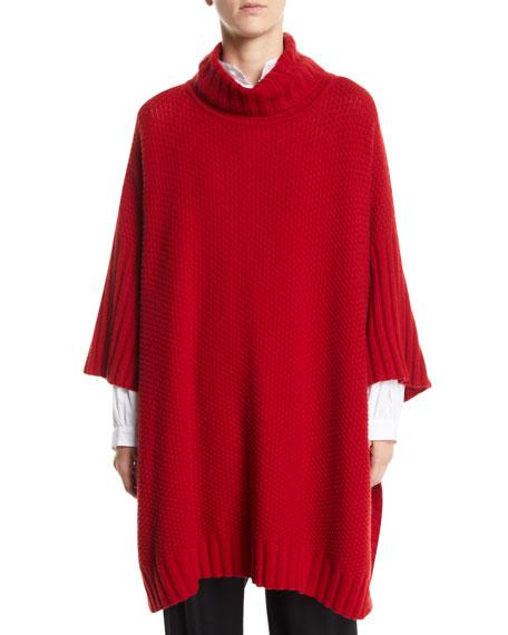 ESKANDAR Turtleneck 3/4-Sleeve Cashmere Long Poncho Sweater in Red
