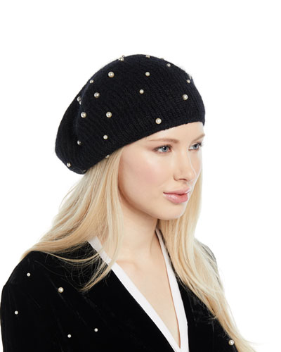 Coco Mohair-Blend Beret w/ Pearly Swarovski Crystals