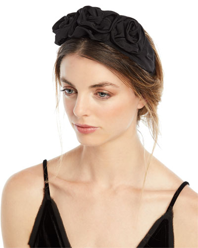 Silk Faille Triple Rosette Headband