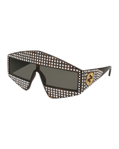 Gucci Crystal & Studded Shield Acetate Sunglasses