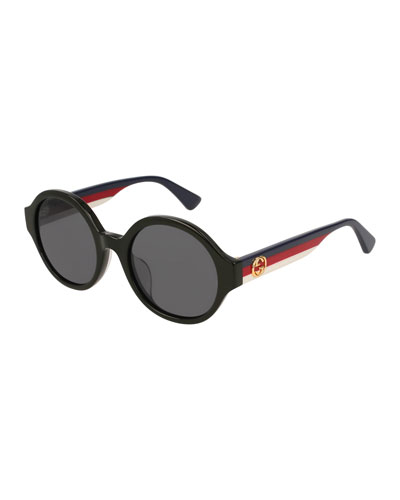 Round Striped-Arm Sunglasses, Black