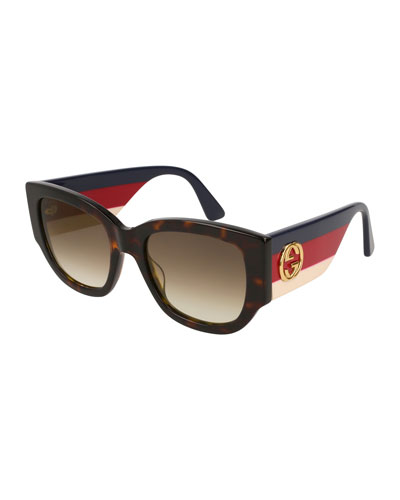 Oversized Rectangle Sunglasses w/ Striped Arms, Havana