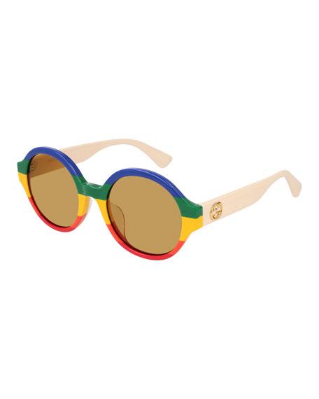 51Mm Rainbow Stripe Round Sunglasses - Multicolor