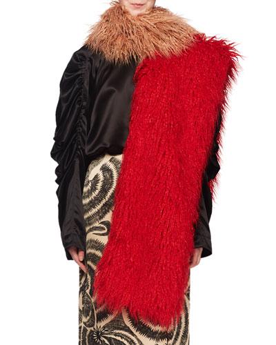 Feltre Shaggy Faux-Fur Feather Scarf