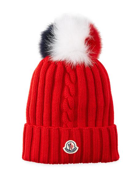 Moncler Berretto Knit Beanie Hat w/ Fur Pompom