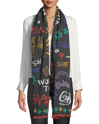 Tour Date Square Wool/Silk Fringe Scarf
