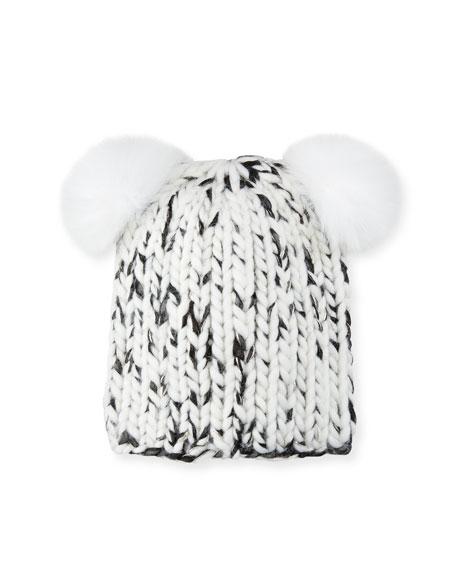 e0ec05ca2b8be Eugenia Kim Mimi Metallic Knit Beanie Hat w  Fur Pompoms