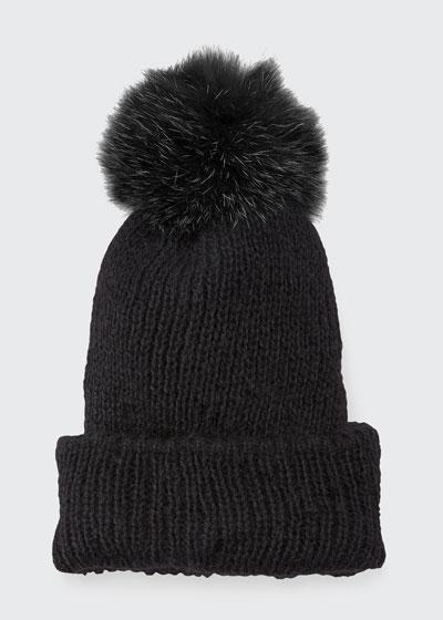 Maddox Beanie Hat w/ Fur Pompom