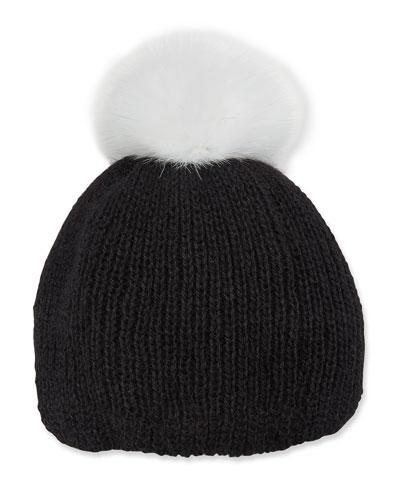 Rochelle Ribbed Beanie Hat w/ Fur Pompom