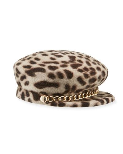 Sabrina Leopard-Print Felted Newsboy Hat
