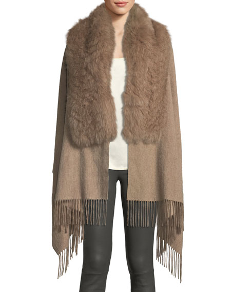 POLOGEORGIS Wool Fringe-Ends Stole W/ Fur Trim in Camel