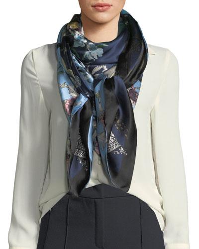 Ingrid/Imogen Double-Sided Floral Silk Scarf