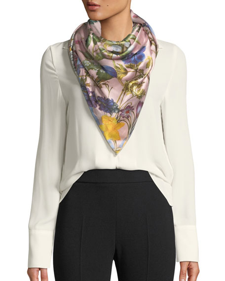 ST. PIECE Isabella Double-Sided Silk Floral Scarf in Pink/White