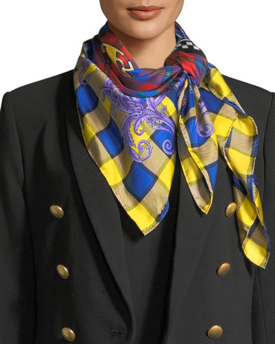 Square Plaid Silk Foulard Scarf with Mismatched Logo