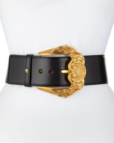 Runway Wide Leather Belt w/ Golden Buckle