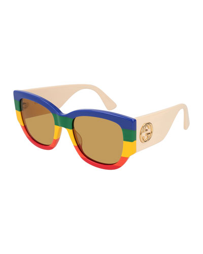 Rainbow Striped Oversized Rectangle Sunglasses