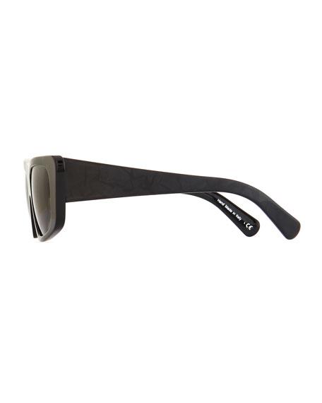 Rectangle Monochromatic Acetate Sunglasses