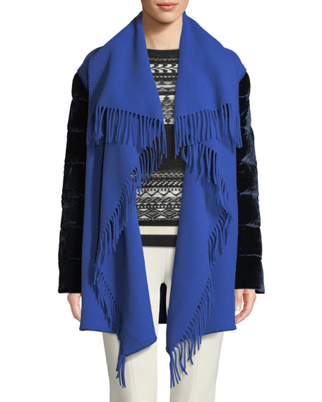 Moncler Mantella Fringed Shawl-Collar Quilted-Sleeve Wool Cape