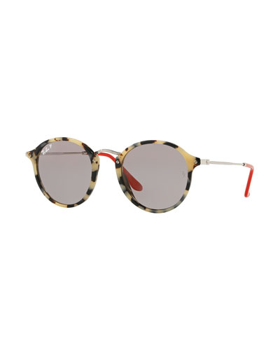 Round Plastic & Metal Polarized Sunglasses