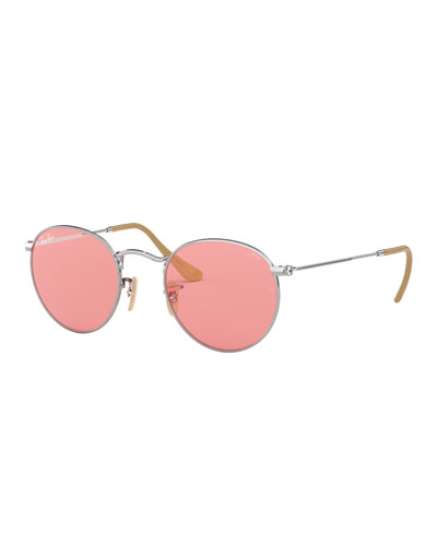 Round Monochromatic Metal Sunglasses, Pink