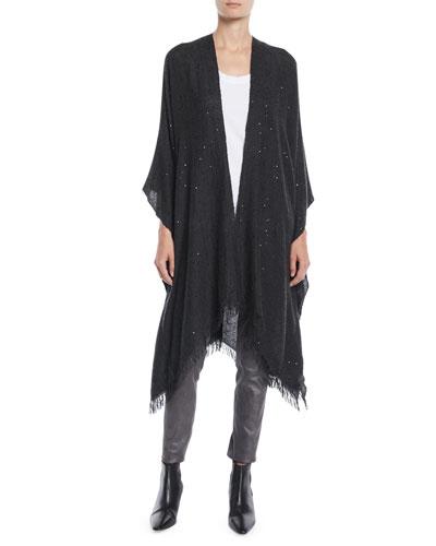 Cashmere/Silk Paillette Sequin Poncho Wrap with Fringe