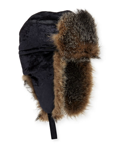 Velvet Hat w/ Fox Fur