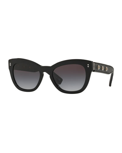 Gradient Butterfly Acetate Sunglasses w/ Rockstud Trim