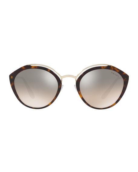 Round Mirrored Acetate & Metal Sunglasses