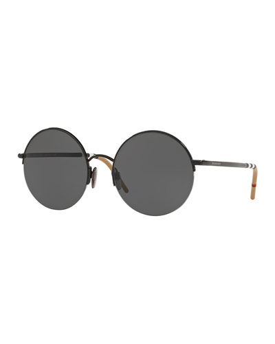 Monochromatic Round Semi-Rimless Sunglasses