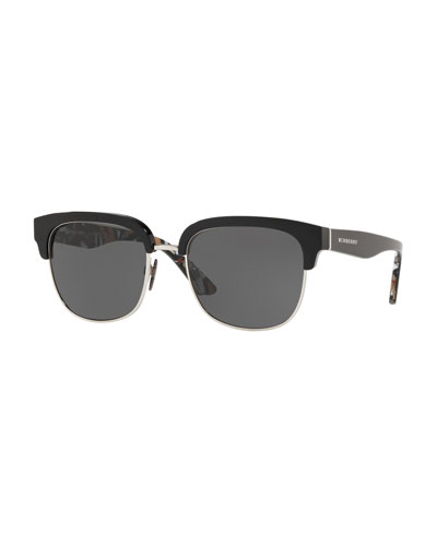 Half-Rim Square Monochromatic Sunglasses