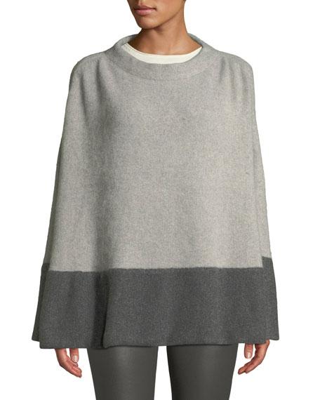 CAROLYN ROWAN Colorblock Cashmere Poncho W/ Crystal Detail in Gray/Dark Gray