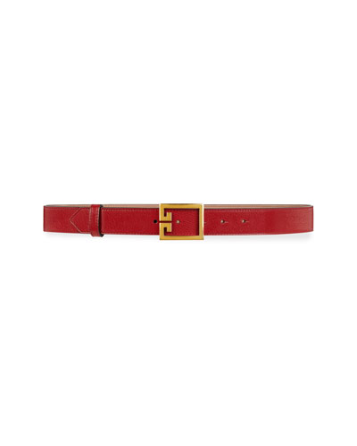 Calfskin Leather Belt w/ Double-G Buckle