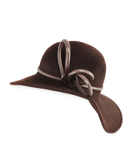 PHILIP TREACY SWEEPING WAVE VELOUR HAT W/ LEATHER BAND TRIM