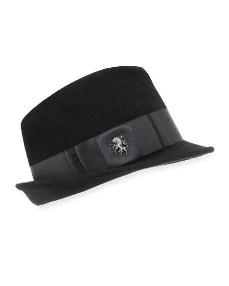 PHILIP TREACY Velour Trilby Hat in Black