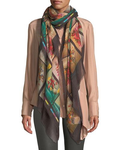 Floral Graphic Fringe Silk Scarf