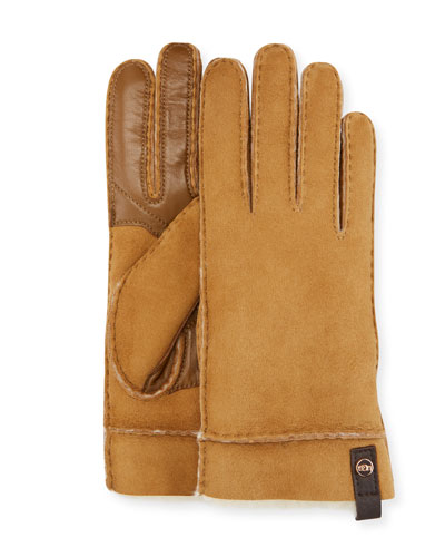 Tenney Suede & Leather Gloves w/ Shearling Lining