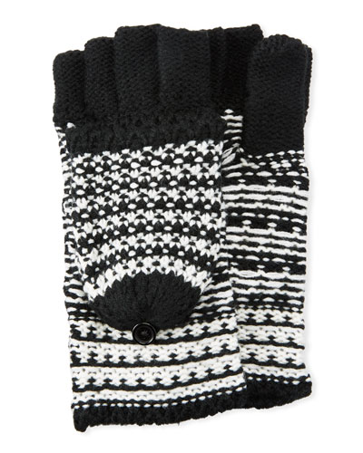 Patchwork Jacquard Pop-Top Mittens