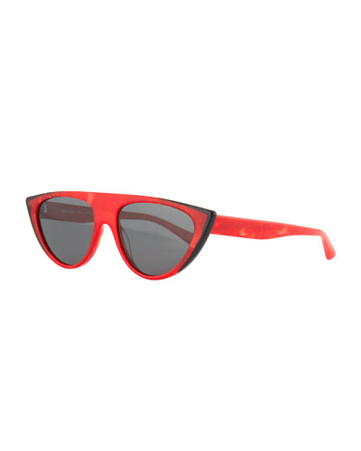 Miss J Geometric Cat-Eye Acetate Sunglasses