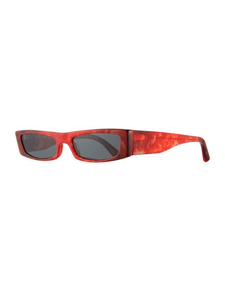 Edwidge Narrow Rectangular Sunglasses - Red