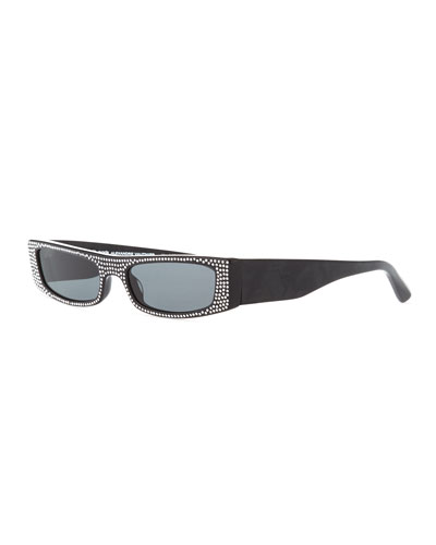 Edwidge Narrow Jeweled Sunglasses