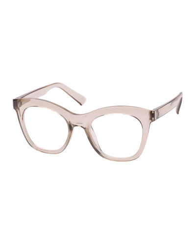 Harlot's Bed Blue Block Cat-Eye Reading Glasses