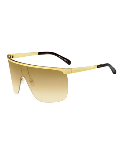 Gradient Metal Shield Sunglasses