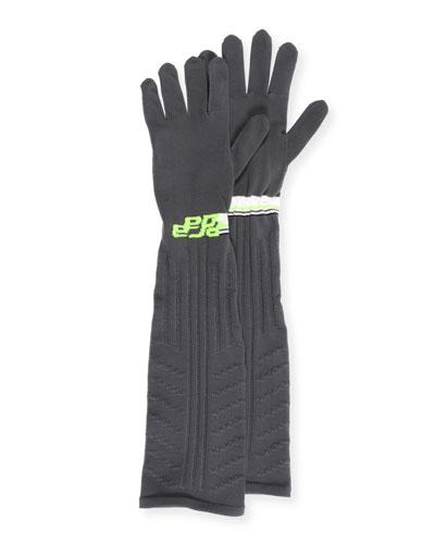 Pointelle-Knit Gloves w/ Logo