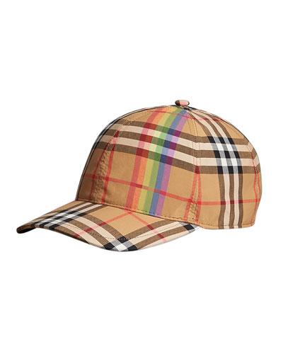 Rainbow Check Baseball Cap
